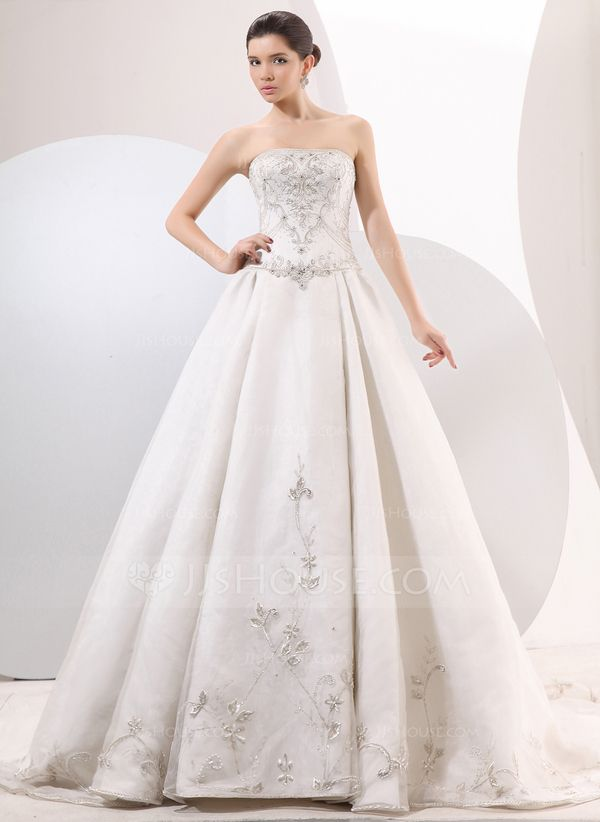 Ball-Gown Strapless Chapel Train Organza Satin Wedding Dress With Embroidered Beading (002014060)