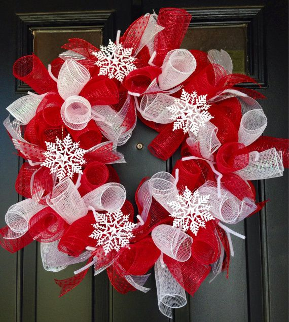 This vibrant red and white deco mesh wreath is 20 inches in diameter making it the perfect fit for any front door. Multiple wreath making