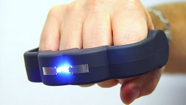 Because sending 950,000 volts simply isn't enough...introducing the Knuckle Blaster Stun Gun!