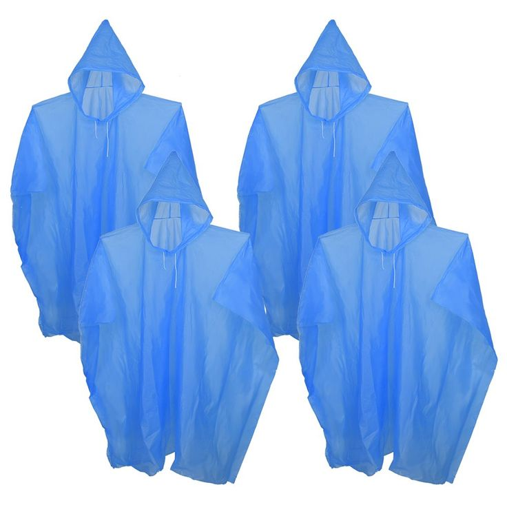 Mudder 4 Pieces Portable Disposable Raincoats Rain Ponchos with Hood. Color: blue; Material: non-toxic PEVA. Each disposable rain poncho is packaged individually. Avoid getting wet in sudden showers. Lightweight ponchos, easy to store, protable, fits in you travel backpack or your wallet; Good emergency kit for outdoor activities. One size fits most, with hood; Size: 48 * 36 inches.