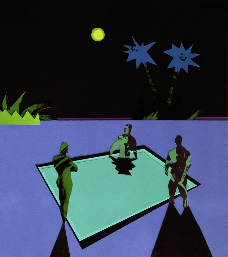 Midnight Dip (After Warhol), Papercut collage, 20 x 20 inches matted and framed, 2016 SOLD #art #arte #artists #artwork #finart #popart #collage #tiko #kerr #tikokerr