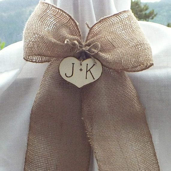 Personalized Burlap Pew Bow  Burlap Wedding by ButterBeanVintage