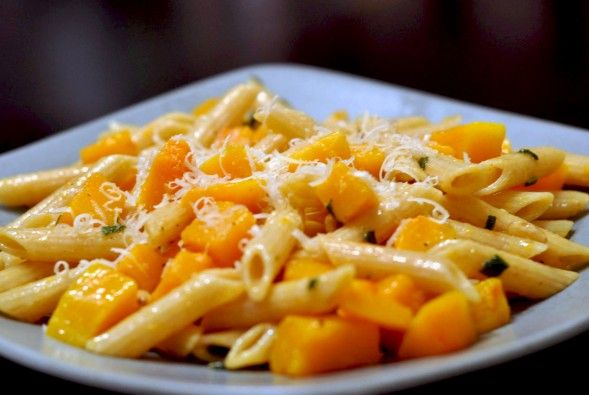 Vegetarian Penne Pasta recipe with Butternut Squash and Sage