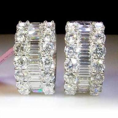 Image result for diamond hoop earrings with baguettes