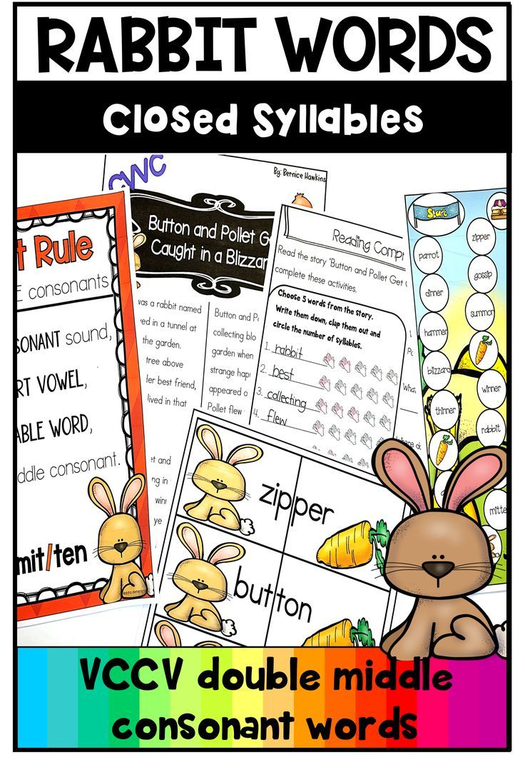 hight resolution of Closed Syllables Rabbit Words practice /double consonant vccv words   Closed  syllables