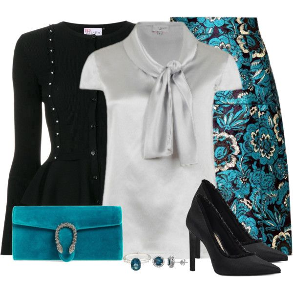Floral Skirt and Velvet Clutch by cathy0402 on Polyvore featuring RED Valentino, Dolce&Gabbana, Nine West, Gucci and A B Davis