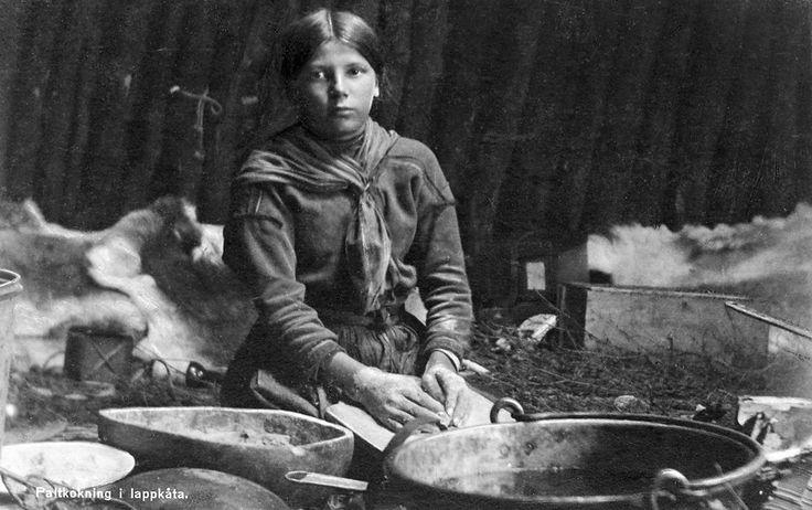 "Girl cooking ""palt"" in a Sami hut, Jukkasjärvi, Lappland, Sweden. Date: 1930-1959"