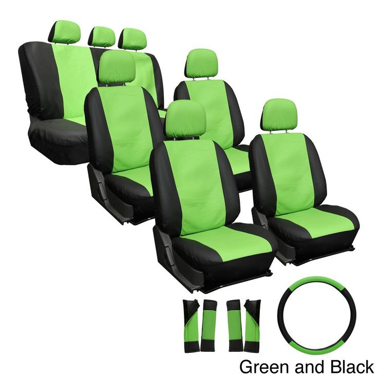 Oxgord Synthetic Faux Leather 23-piece Truck and Van Seat Covers (Green/Black)