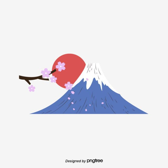 Japanese Cherry Blossom Fuji Mountain Red Sun Creative Material Vector And Png Japanese Cartoon Art Japanese Background Fuji Mountain