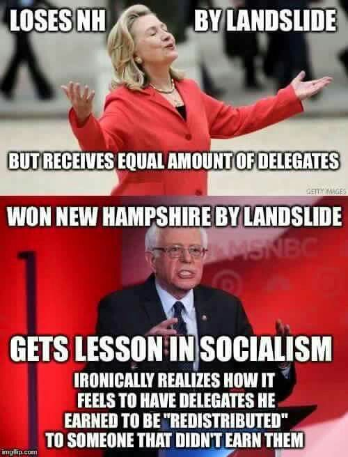 Lol socialism 101   But Bernie still stands by her and the DNC...no fool like an old politician