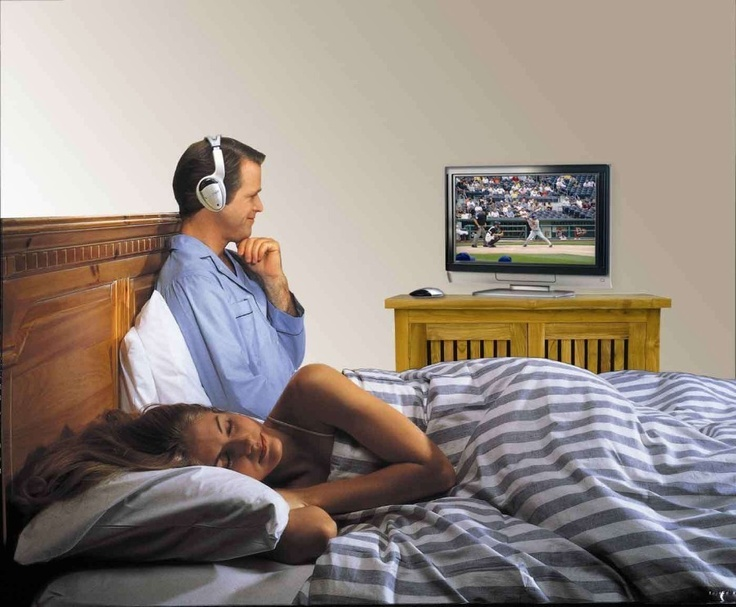 wireless headphones... more specifically the guy in this picture is creepy and they definitely photoshopped the tv in