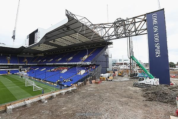 LONDON, ENGLAND - SEPTEMBER 18: View of the building work on the new stadium at White Hart Lane during the Premier League match between Tottenham Hotspur and Sunderland at White Hart Lane on September 18, 2016 in London, England