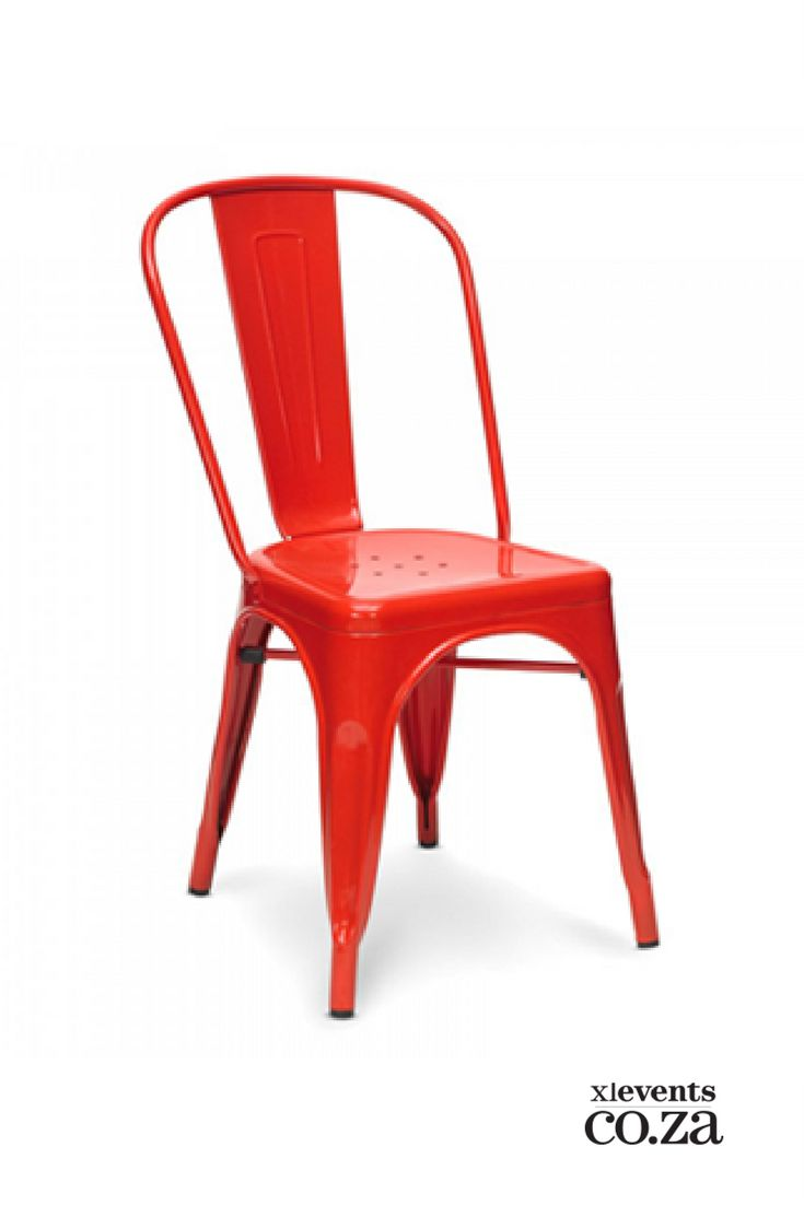 Red Metal Trollip Chair available for hire for your wedding, conference, party or event. Browse our selection of chairs and furniture in our online catelogue.