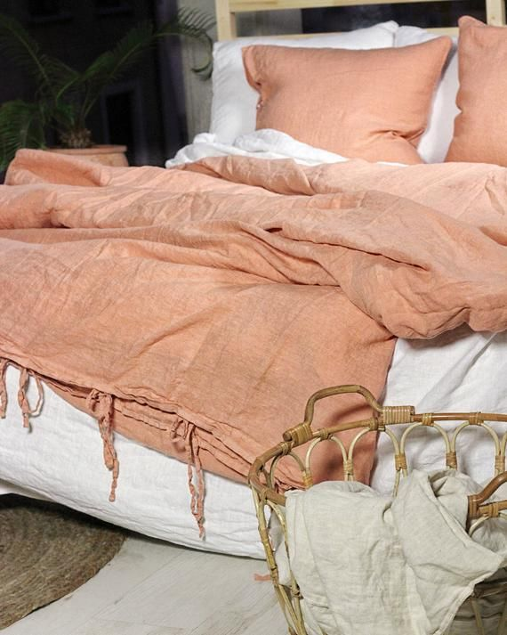 Linen Duvet Cover With Ties Terracotta Duvet Cover Linen Bedding Pure Linen Duvet Duvet Cover King Duvet Cover Queen Linen Bedding Linen Duvet Covers Linen Duvet Bed