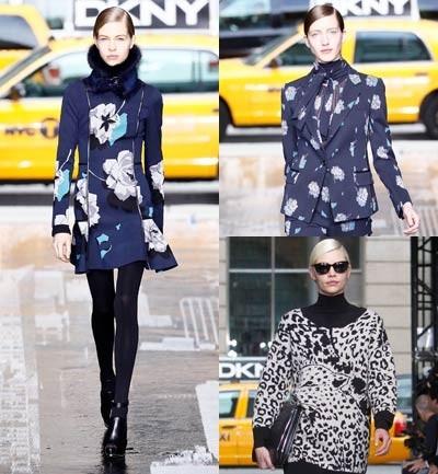 DKNY Estampados de leopardo y flores y el azul cobalto en todas partes