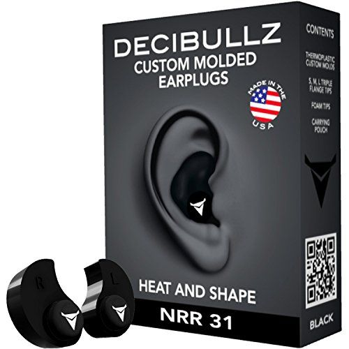 Decibullz+–+Custom+Molded+Earplugs,+31dB+Highest+NRR,+Comfortable+Hearing+Protection+for+Shooting,+Travel,+Swimming,+Work+and+Concerts+(Black)