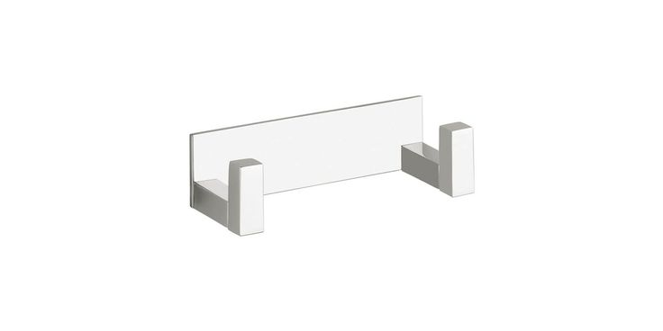 WS Bath Collections Quadra 0861 Quadra Double Bathroom Hook Polished Chrome Accessory Robe Hook Double Hook