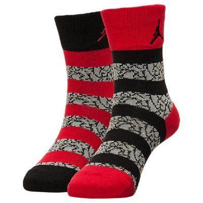 Socks 153564: Jordan Elephant Striped Crew Socks 2-Pack 5Y-7Y 9-