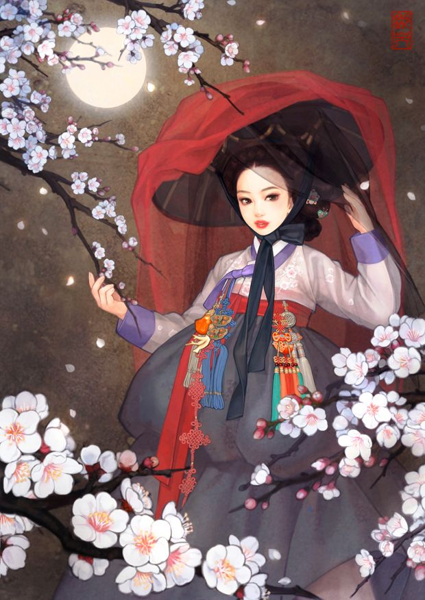 Korean Beauty by Illustrator 흑요석 (Obsidian) Are these flowers hibiscus or more cherry blossom?