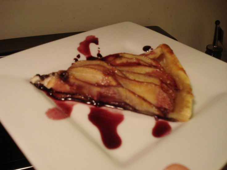 """Pear, port, and """"Stinking Bishop"""" cheese tart."""