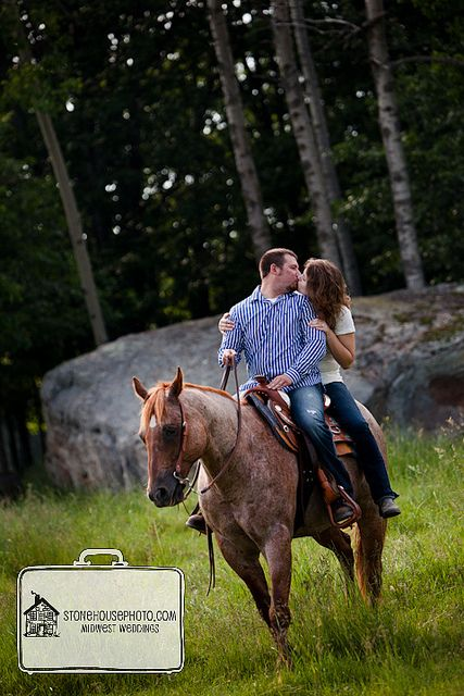engagement photo idea Love the idea of the horse but instead of girl on the back: girl in front with legs in one direction assisting in holding the reins and kissing of looking down at the horse while he puts his face close to hers