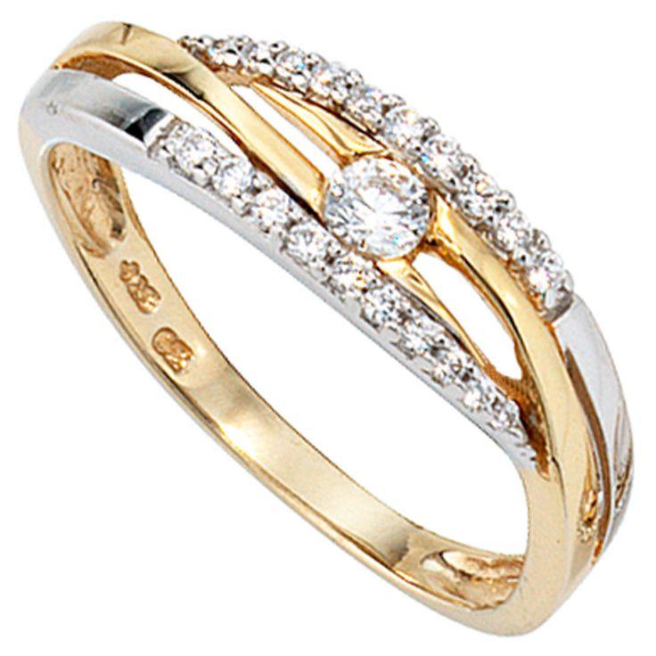 Damen Ring 333 Gold Gelbgold Weißgold bicolor mit Zirkonia Goldring J37653