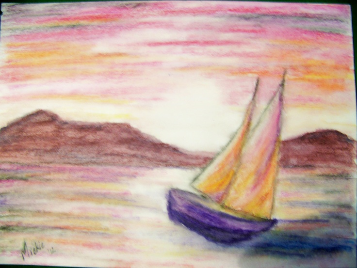 Sailing home.  This scene is a peaceful one where the boat is coming in to a safe and familiar shore.  It is welcoming and tranquil and promises rest.  It is a mixed media water colour on paper.  210 x 285 mm