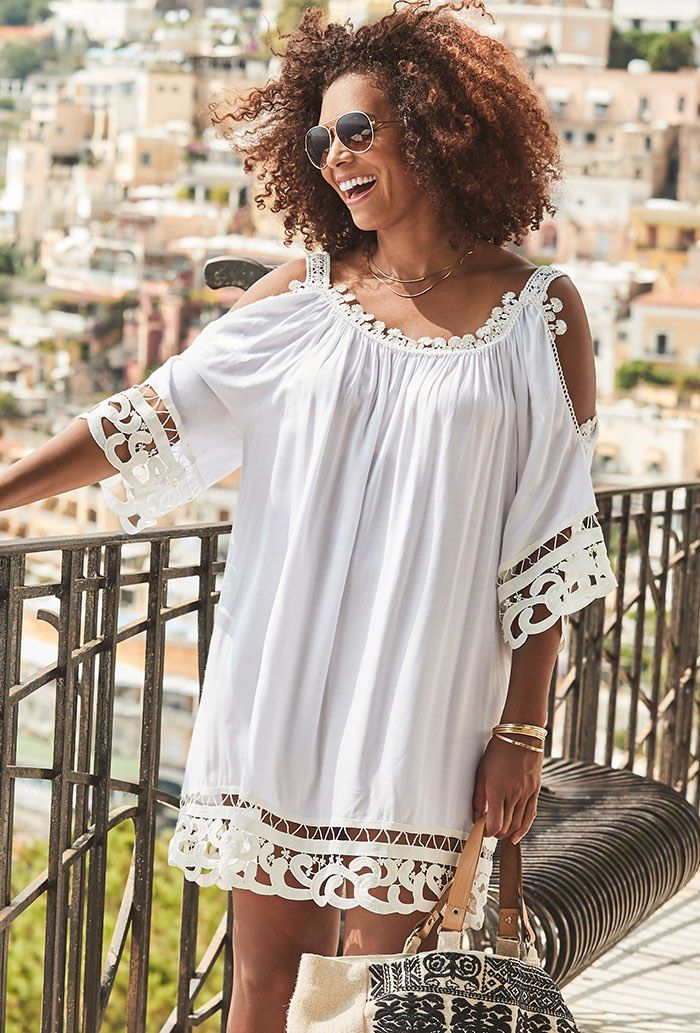 Vera White Crochet Cold Shoulder Dress | Swimsuits For All ...