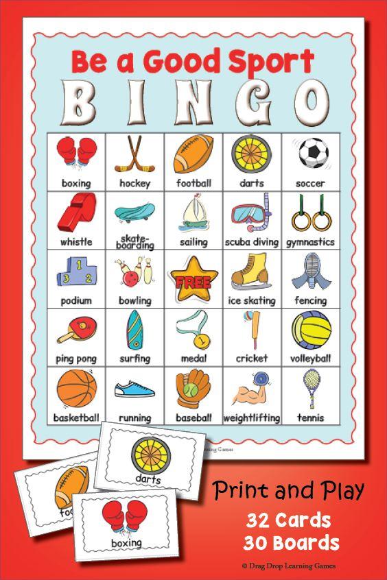 Sports Bingo Sports Day Printable Bingo Games Pinterest