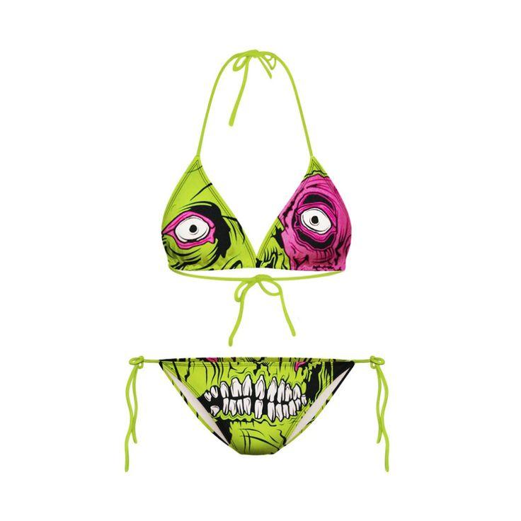 Encontrar Más Bikinis Set Información acerca de Impresión Digital 3D zombies verdes sra. playa Bikini dos piezas traje de baño de moda sexy Bikini, alta calidad bikini ropa de playa, China abrigo de la manera Proveedores, barato jeans de moda para los hombres de Silin en Aliexpress.com