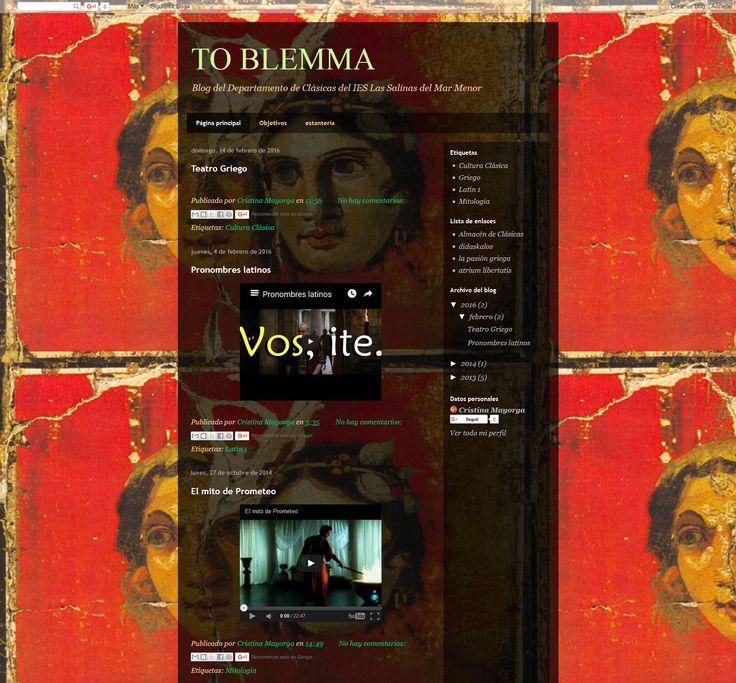Cristina Mayorga ha puesto en marcha su blog de aula, To Blemma, para acercar y trabajar el mundo clásico.