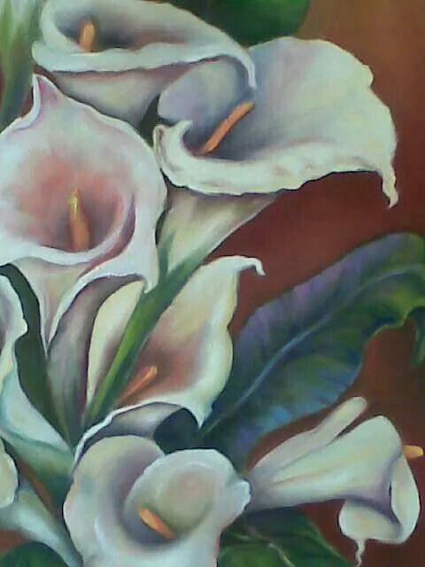 Pintura al óleo,flores,alcatraces,cartuchos.