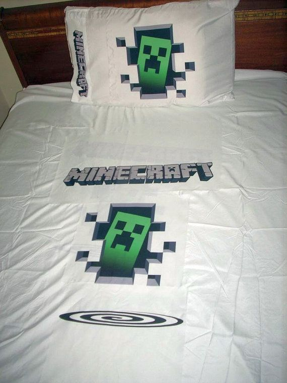 custom minecraft creeper inspired twin sheet set and