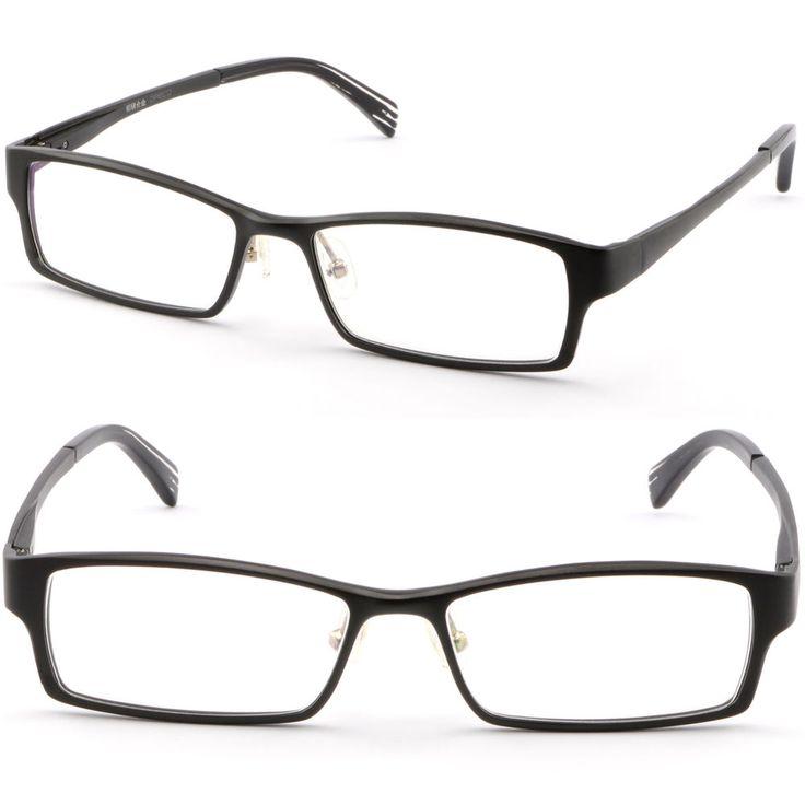 Rectangular Men Women Metal Frame Prescription Glasses Spring Loaded Hinge Black #Unbranded