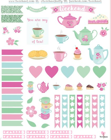 Free Printable Tea Party Planner Stickers