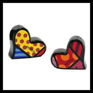 New Romero Britto Heart Salt & Pepper Shaker Set SAVE Ceramic Giftcraft Kitchen Heart Shaped Salt and Pepper Wedding Gift http://theceramicchefknives.com/ceramic-salt-pepper-shakers/