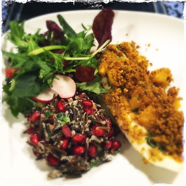 Mango and relish crumb coated baked white fish, accompanied by a fresh mesclun with baby radishes and a pomegranate wild rice salad.