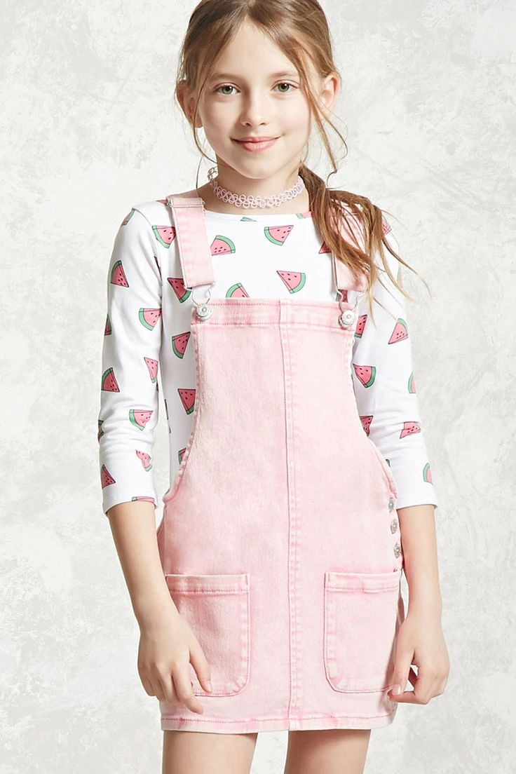 Forever 21 Girls - A knit bodysuit featuring an allover watermelon print, a round neckline, 3/4 sleeves, and a scoop back.