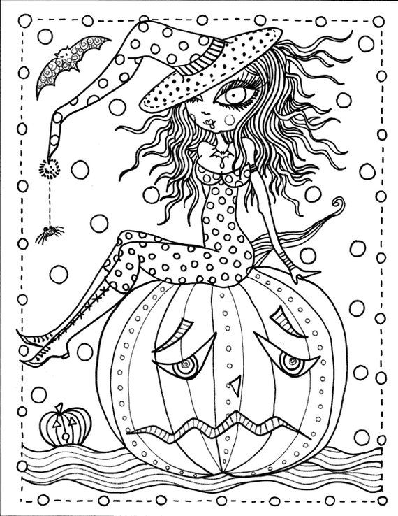 5 Pages Instant Download Halloween Coloring Art To Color Digital Digi Stamp Witch Cat Moon Fal