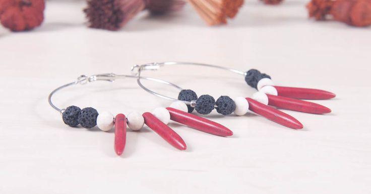 Μεταλικοί κρίκοι κόκκινος χαολίτης - boho lava earrings