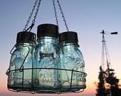 Antique Lights Mason Jar Chandelier 6 Blue QUART Ball Canning Jar Basket, Upcycled Hanging Mason Jar Lighting, Wedding Lighting Garden Party. $125.50, via Etsy.