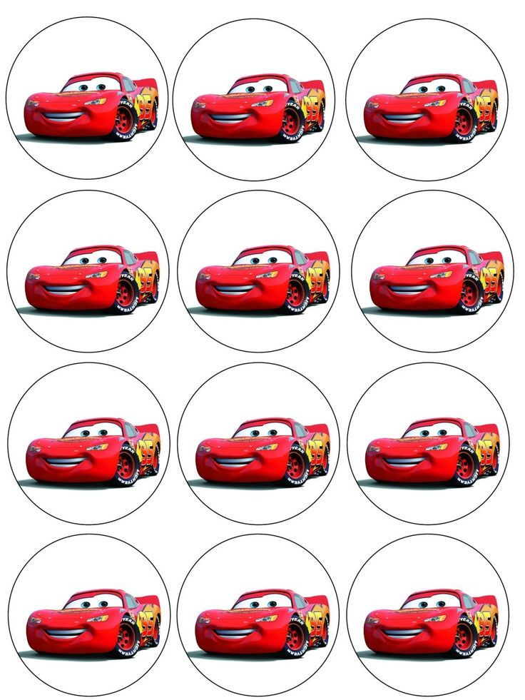 "Single Source Party Supply - 2.5"" Cars (McQueen) Cupcake Edible Icing Image Toppers"