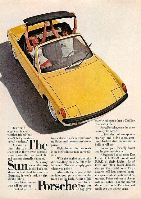 """PORSCHE 914 Yellow 1972 Car Photo Ad """"Sun"""" Vintage Advertising Wall Art Decor Print."""