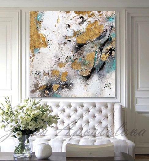 Gold Leaf Painting Black White Gold Art por JuliaApostolova en Etsy