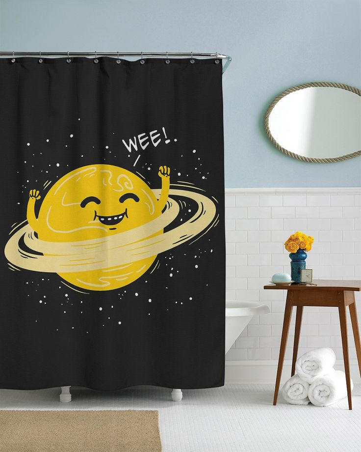 Hula Hoop Planet Shower Curtain | CrazyDog T Shirts