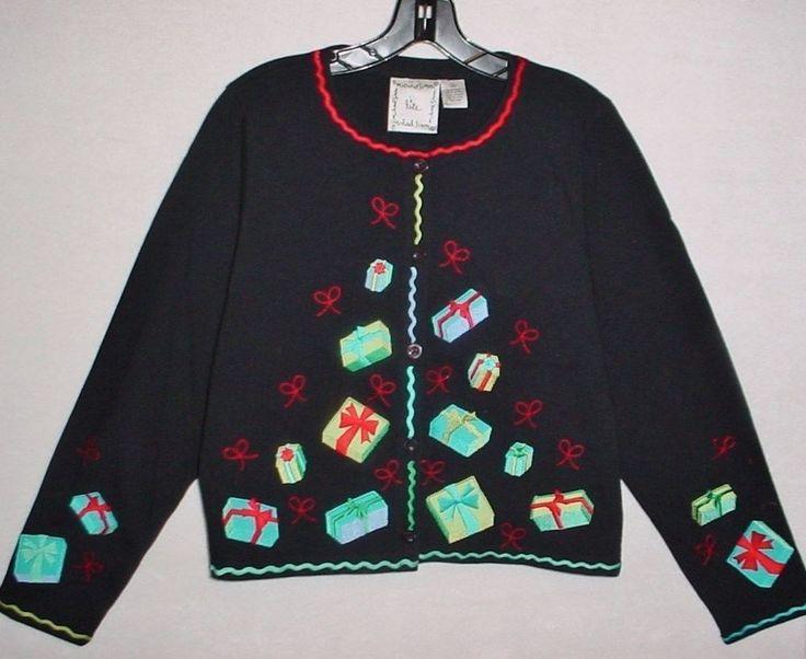"MICHAEL SIMON Lite Ladies M ""Tumbling Gifts"" CHRISTMAS Sweater, Black #MichaelSimon #Cardigan"