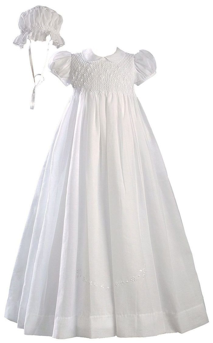 Girls Special Occasion 26 Cotton Christening Baptism Gown with Venise Lace and Cap