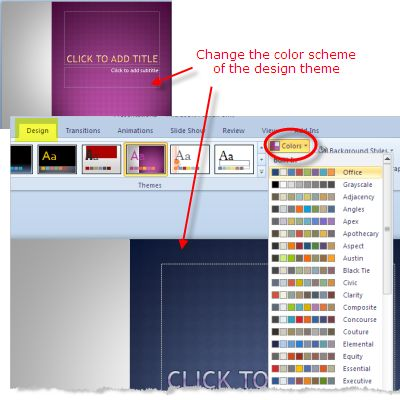 Design Themes in PowerPoint 2010: Change the Color Scheme of the Design Theme