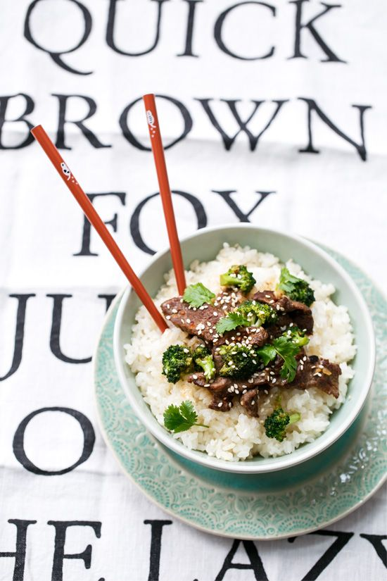 Thai Coconut Beef & Broccoli Stir Fry Rice Bowls