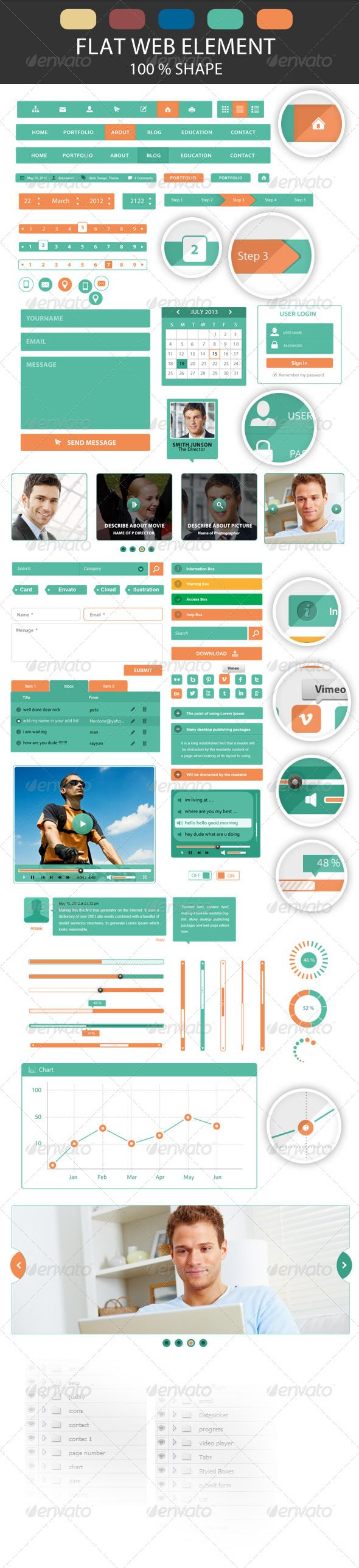 Flat UI Web Element Creative